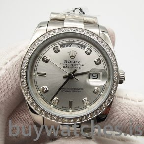Rolex Day-date 118346 Montre Automatique Gris Argenté 36 mm Diamants