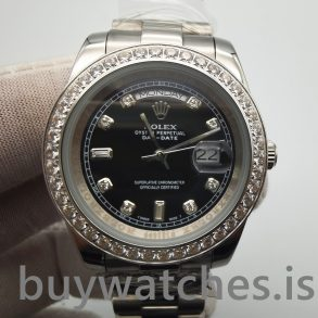 Rolex Day-Date 218349 Montre Automatique Homme 41 mm Noir Avec Diamants