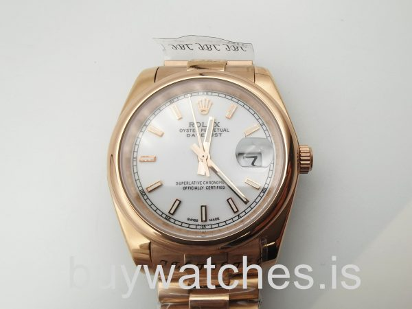 Rolex Datejust 4467 Montre automatique unisexe 36 mm en or rose 18 carats